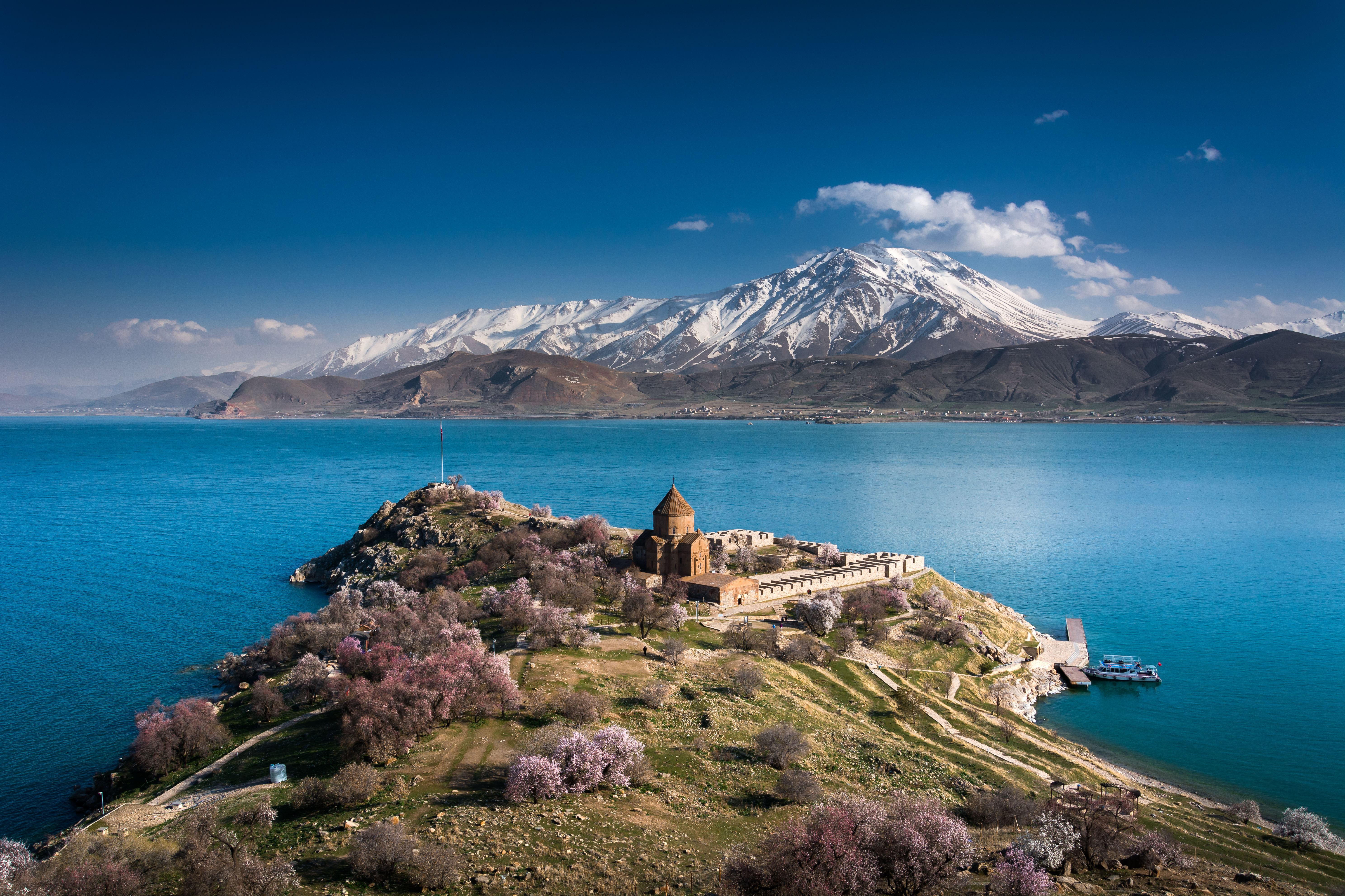 'armenian,Holy,Cross,Cathedral',Surrounded,By,Tree,In,Blossom,,In